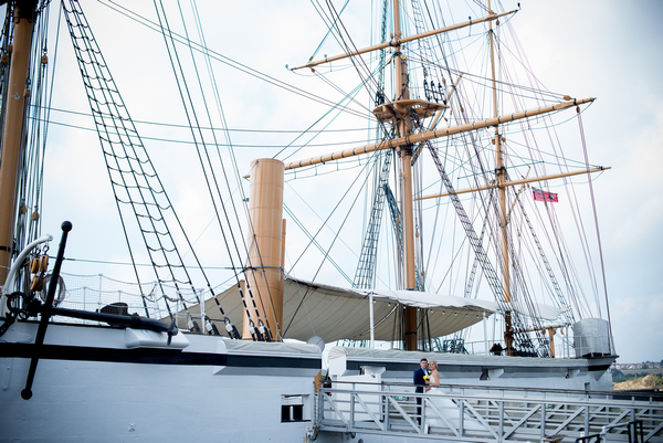 Bride and groom boarding ship at The Dockyard Chatham