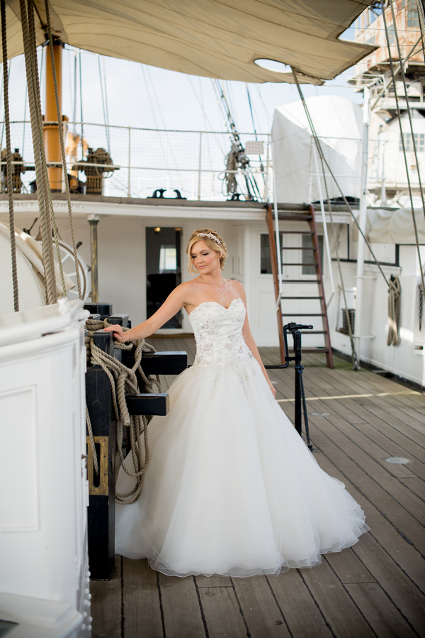 Bride on ship deck
