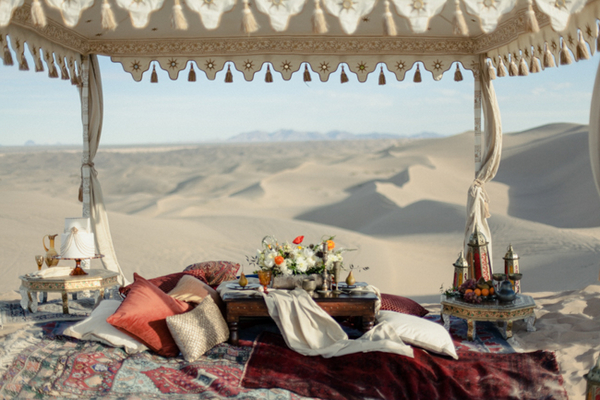Moroccan table and blankets
