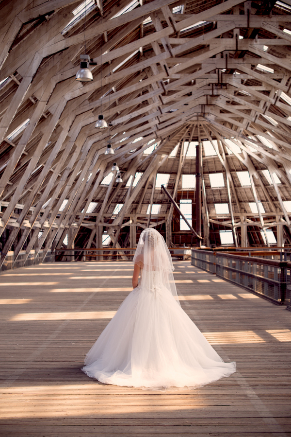 Bride inside The Dockyard Chatham covered slip