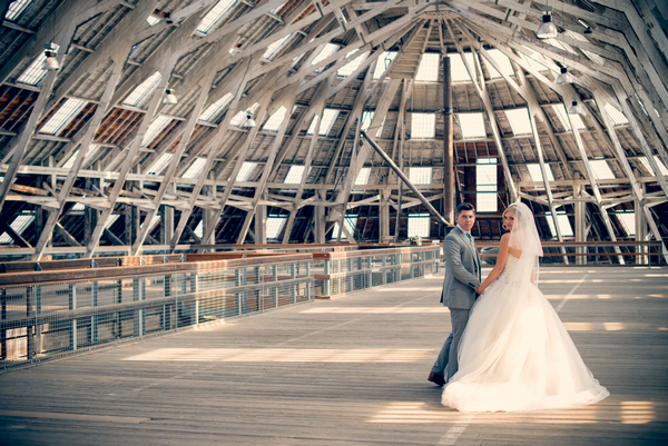 Bride and groom inside The Dockyard Chatham covered slip