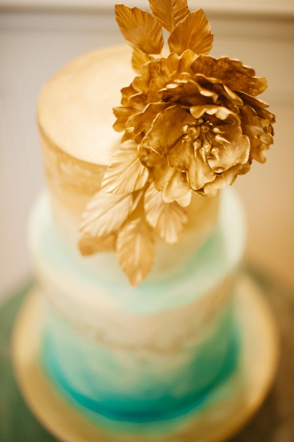 Ombre aqua and gold wedding cake
