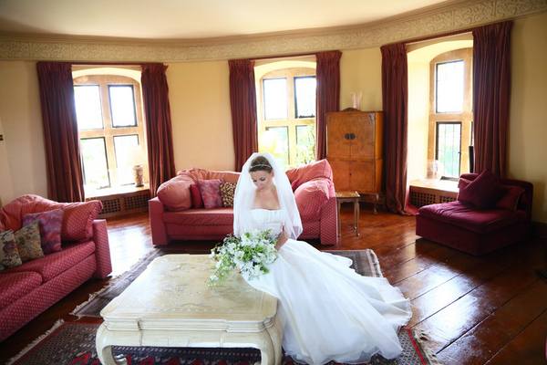 Bride sitting at coffee table