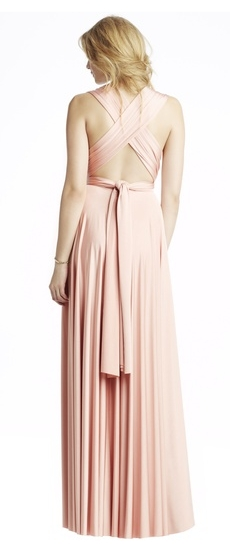 Back of Twobirds Bridesmaid Classic Bucklewaist Ballgown in Blush