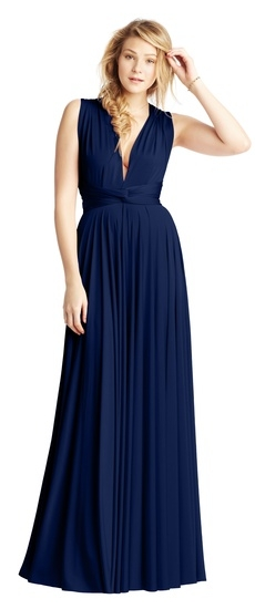 Twobirds Bridesmaid Classic Bucklewaist Ballgown in Windsor Navy