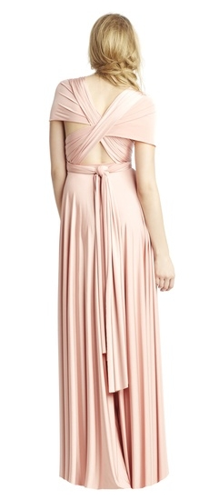 Back of Twobirds Bridesmaid Classic Cap Sleeve Shoulder Ballgown in Blush