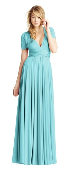 Twobirds Bridesmaid Classic Cap Sleeve Shoulder Ballgown in Duck Egg
