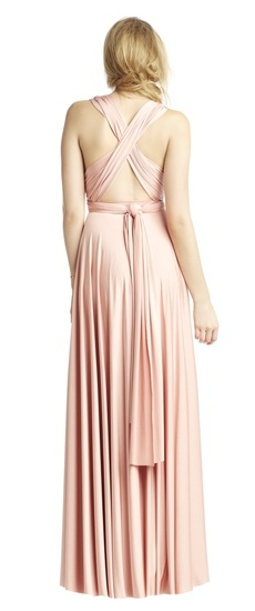 Back of Twobirds Bridesmaid Classic Cap Sleeve Tank Ballgown in Blush