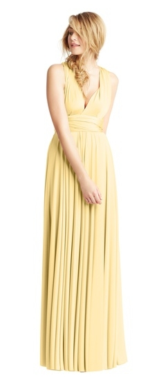 Twobirds Bridesmaid Classic Cap Sleeve Tank Ballgown in Butter Yellow