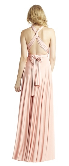 Back of Twobirds Bridesmaid Classic Front Neck Twist Ballgown in Blush