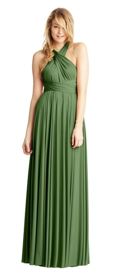 Twobirds Bridesmaid Classic Front Neck Twist Ballgown in Olive