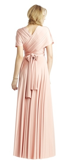 Back of Twobirds Bridesmaid Classic Full Coverage Ballgown in Blush