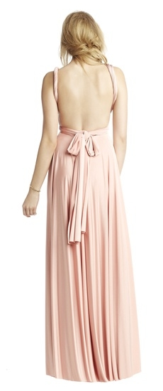 Back of Twobirds Bridesmaid Classic Grecian Twist Backless Ballgown in Blush