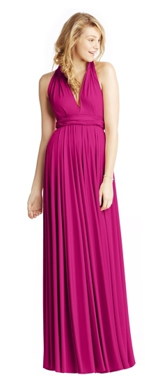 Twobirds Bridesmaid Classic Grecian Twist Ballgown in Fuschia