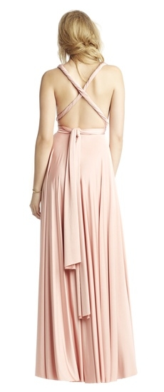 Back of Twobirds Bridesmaid Classic Grecian Twist Cross Back Ballgown in Blush