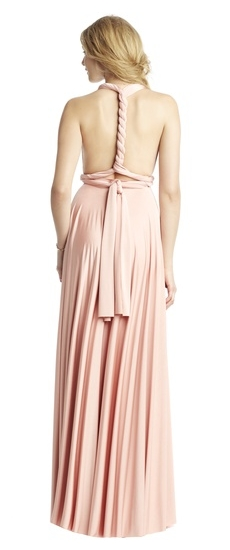Back of Twobirds Bridesmaid Classic Grecian Twist Middle Back Ballgown in Blush