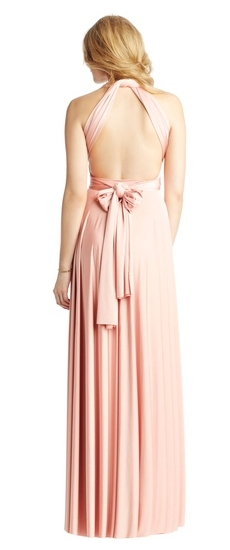 Back of Twobirds Bridesmaid Classic Halter Ballgown in Blush