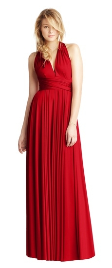 Twobirds Bridesmaid Classic Halter Ballgown in Cabernet Red