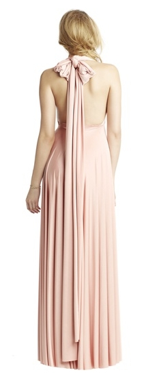Back of Twobirds Bridesmaid Classic Halter Bow Ballgown in Blush