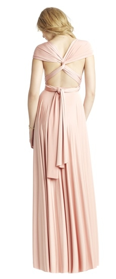 Back of Twobirds Bridesmaid Classic Knotted Cap Sleeve Ballgown in Blush