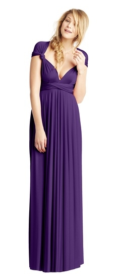 Twobirds Bridesmaid Classic Knotted Cap Sleeve Ballgown in Regal Purple