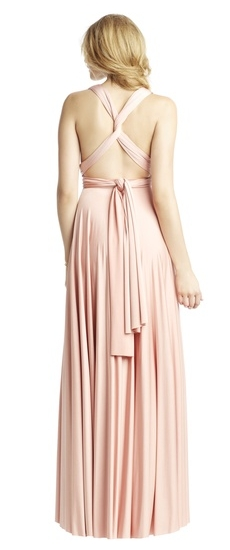 Back of Twobirds Bridesmaid Classic Knotted Tank Ballgown in Blush