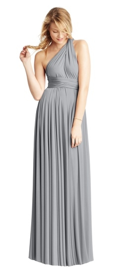 Twobirds Bridesmaid Classic One Shoulder Ballgown in Platinum