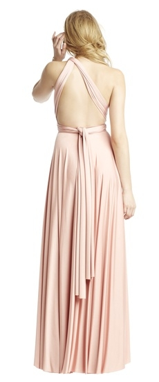 Back of Twobirds Bridesmaid Classic One Shoulder Flat Back Ballgown in Blush