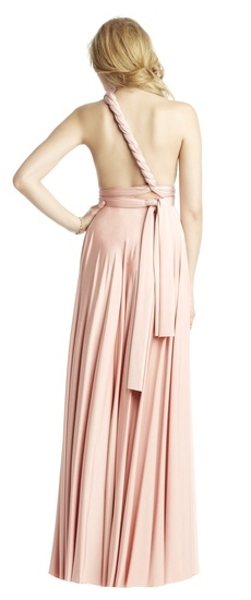 Back of Twobirds Bridesmaid Classic One Shoulder Twist Ballgown in Blush