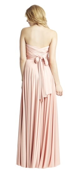 Back of Twobirds Bridesmaid Classic Strapless Ballgown in Blush
