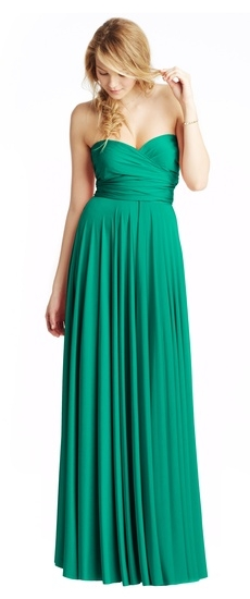 Twobirds Bridesmaid Classic Strapless Ballgown in Kelly Green