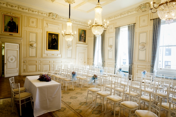 Wedding ceremony seating in King Harald V Room at The In and Out