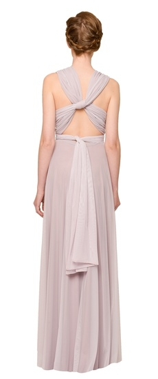 Back of Twobirds Bridesmaid Tulle Bucklewaist Ballgown in Lilac