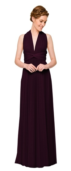 Twobirds Bridesmaid Tulle Bucklewaist Ballgown in Plum