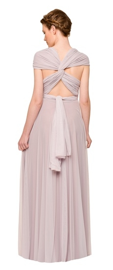 Back of Twobirds Bridesmaid Tulle Cap Sleeve Shoulder Ballgown in Lilac