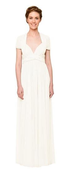 Twobirds Bridesmaid Tulle Cap Sleeve Shoulder Ballgown in Cream