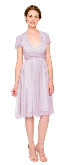 Twobirds Bridesmaid Tulle Cap Sleeve Shoulder Short Straight in Lilac