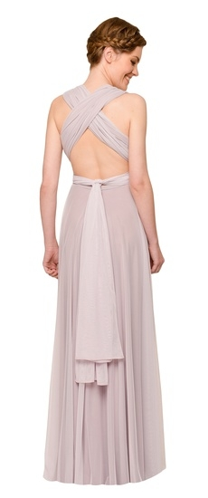 Back of Twobirds Bridesmaid Tulle Cap Sleeve Tank Ballgown in Lilac