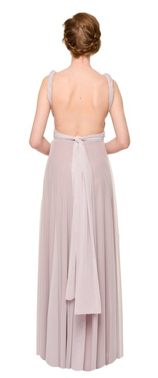 Back of Twobirds Bridesmaid Tulle Grecian Twist Backless Ballgown in Lilac