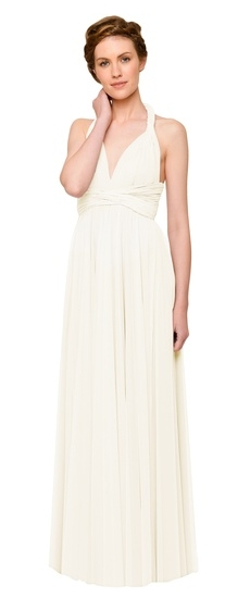 Twobirds Bridesmaid Tulle Grecian Twist Ballgown in Cream