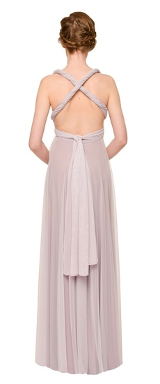 Back of Twobirds Bridesmaid Tulle Grecian Twist Cross Back Ballgown in Lilac