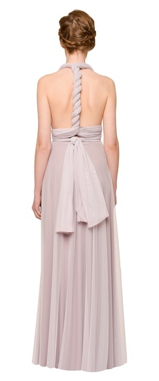 Back of Twobirds Bridesmaid Tulle Grecian Twist Middle Back Ballgown in Lilac