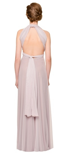 Back of Twobirds Bridesmaid Tulle Halter Ballgown in Lilac