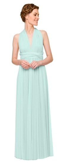 Twobirds Bridesmaid Tulle Halter Ballgown in Seafoam