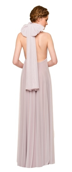 Back of Twobirds Bridesmaid Tulle Halter Bow Ballgown in Lilac