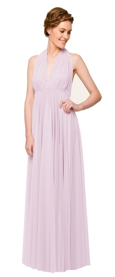 Twobirds Bridesmaid Tulle Halter Bow Ballgown in Lilac