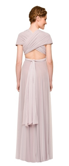 Back of Twobirds Bridesmaid Tulle Knotted Cap Sleeve Ballgown in Lilac