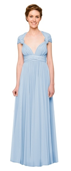 Twobirds Bridesmaid Tulle Knotted Cap Sleeve Ballgown in Powder Blue