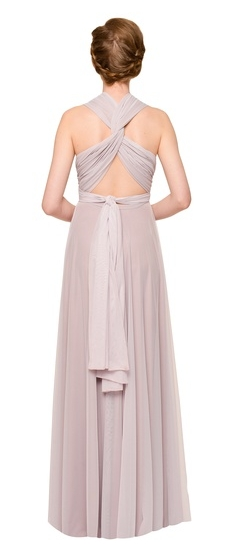 Back of Twobirds Bridesmaid Tulle Knotted Tank Ballgown in Lilac