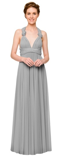 Twobirds Bridesmaid Tulle Knotted Tank Ballgown in Dove
